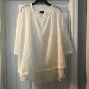 White Sweater with Sheer Hem Detail